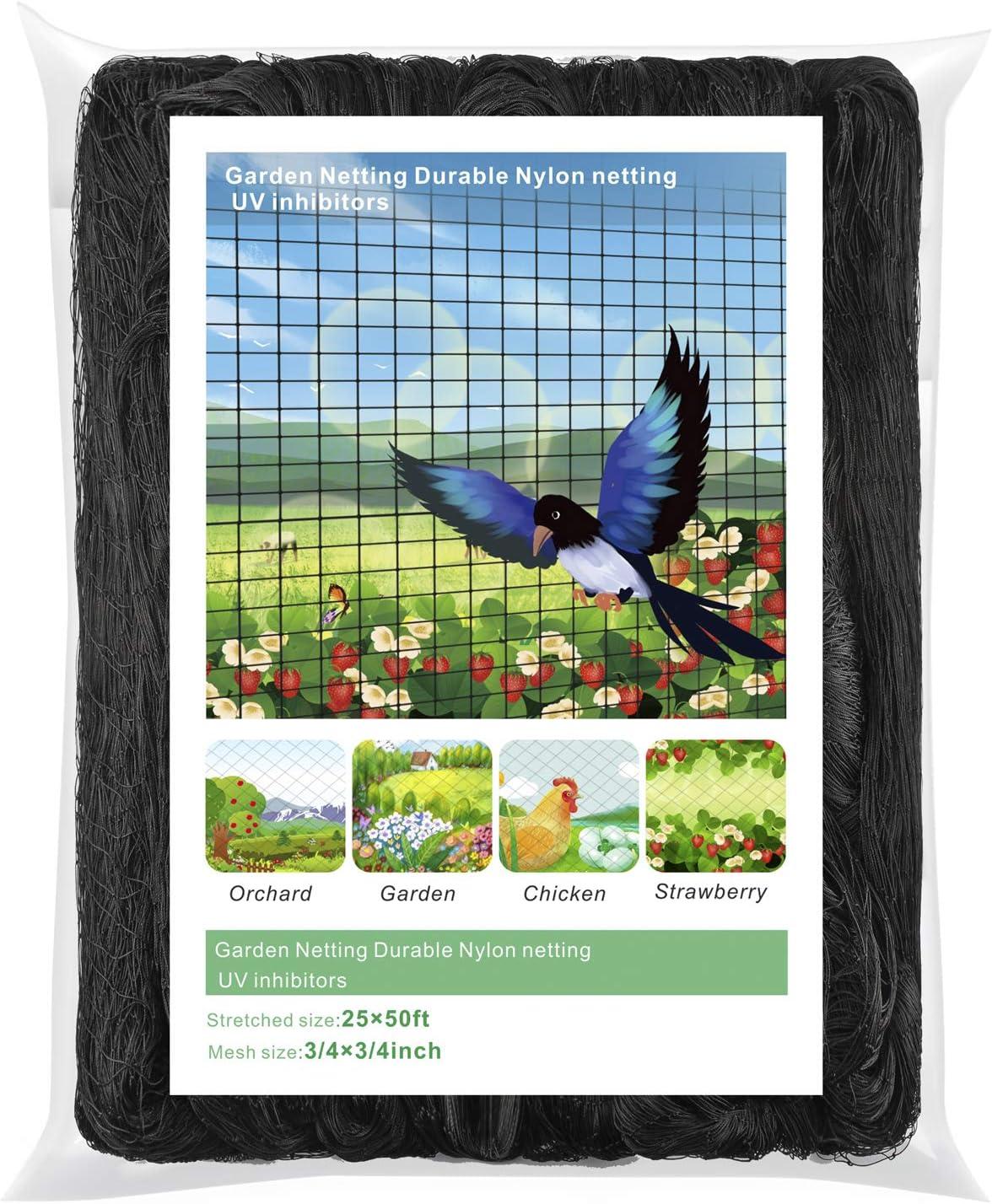 WOSCMI Bird Netting - 25 X 50 feet Garden Netting for Birds Tree Nets for Fruit Trees 3/4 inch Mesh Size Bird Netting for Garden