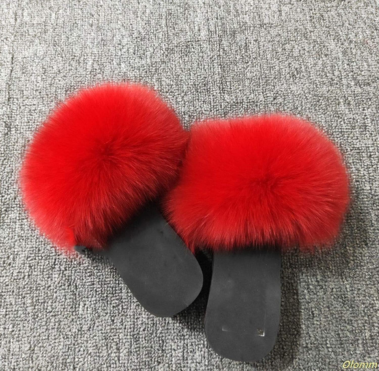Real Fur Slippers Platform Women Fox Home Fluffy Slippers with Feathers Furry Summer Flats Ladies Shoes Fox Fur Flip Flops,Fox Hair,6.5