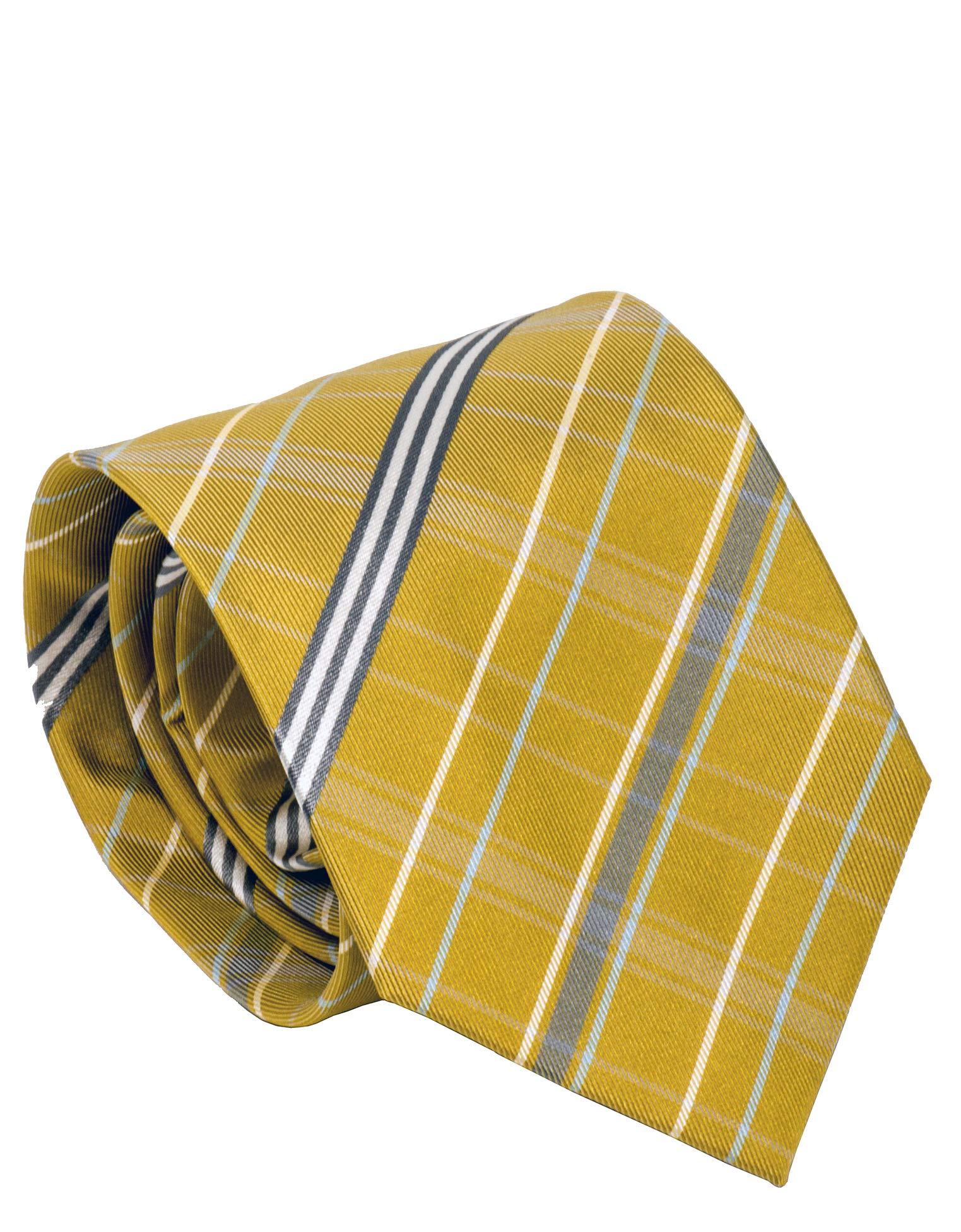 Burberry London Mens Necktie Classic Diagonal Stripe Pattern Wide Cut Silk Tie (Yellow/Grey)
