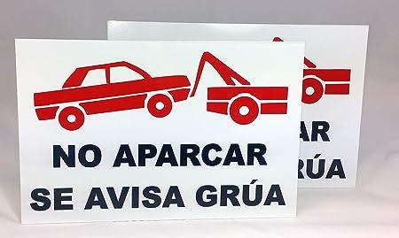 Pack de 2 unidades de Cartel Metal 30x20 cm No aparcar Se avisa grua. Chapa de 0,6 mm de grosor (30x20 cm)