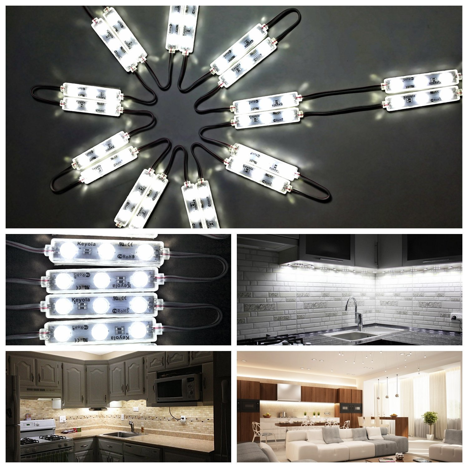 Dimmable LED Under Cabinet Lighting Kit,20W 2400LM-60leds White 10ft Under Counter Lights under Closet kitchen lights kit,with dimmer and power