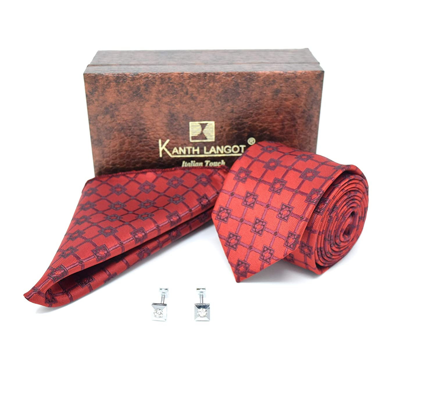 Kanthlangot Jacquard Red and Brown Tie Pocket Square And Silver Cufflinks Set