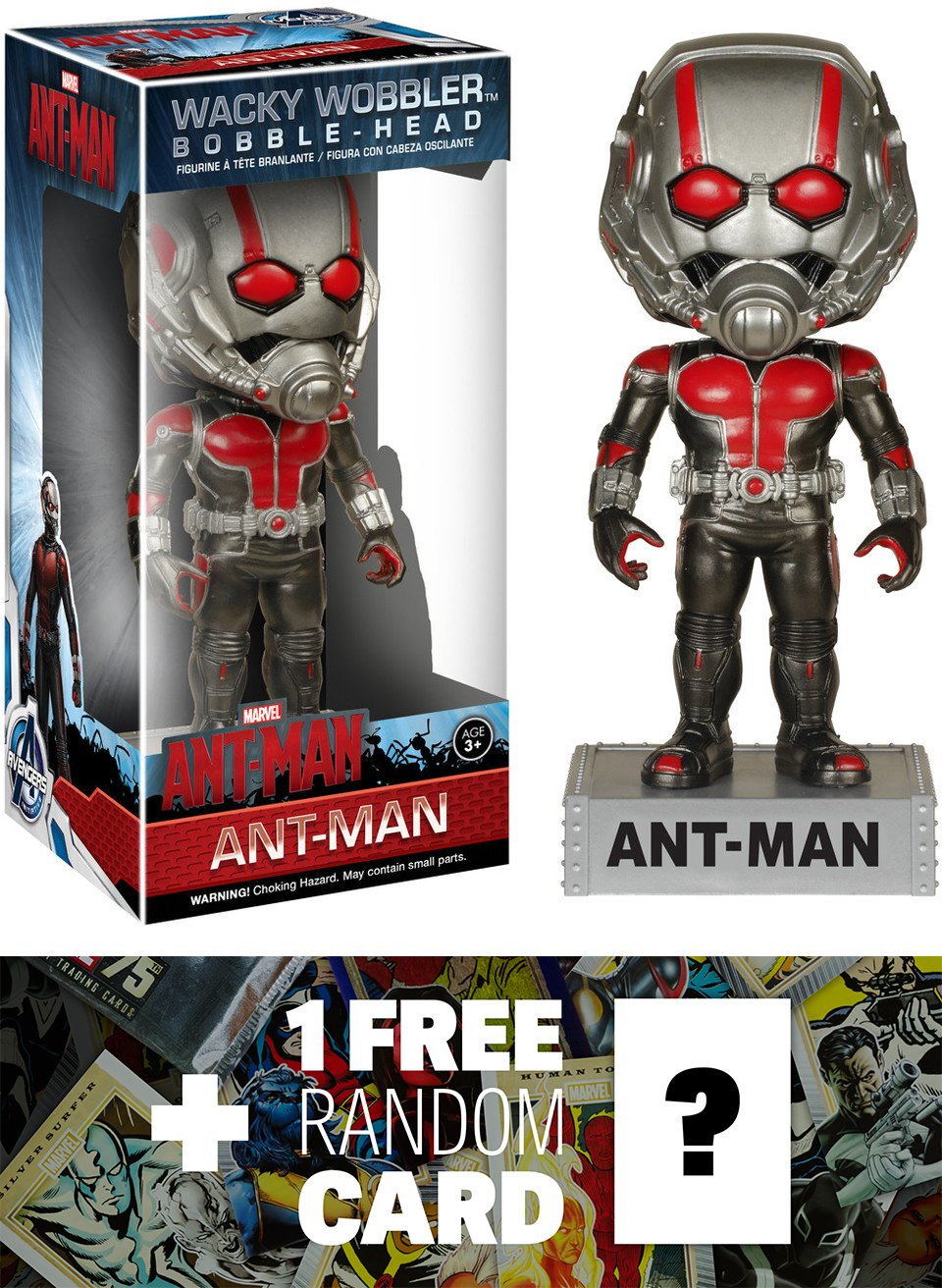 Ant-Man Bobble Head Figure: Ant-Man x Wacky Wobblers Series + 1 FREE Official Marvel Trading Card Bundle [49645] B012JHQZAU