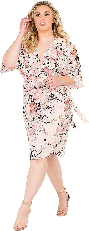 Standards /& Practices Plus Size Modern Womens Pink Floral Kimono Wrap Midi Dress