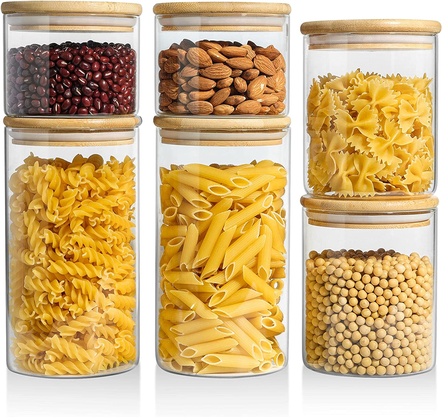 ComSaf Food Storage Container with Airtight Bamboo Lid Set of 6, Clear Glass Canister Food Jar with Sealing Lid Kitchen Pantry Storage Container for Sugar Flour Cereal Pasta Snack Coffee Beans