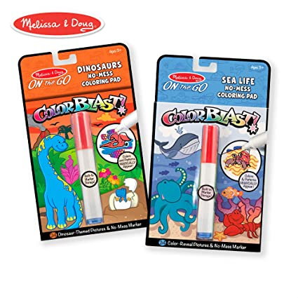 Melissa & Doug On the Go ColorBlast No-Mess Coloring Pad 2-Pack, Sea Life,  Dinosaurs (24 Color-Reveal Pictures, Invisible Ink Marker)