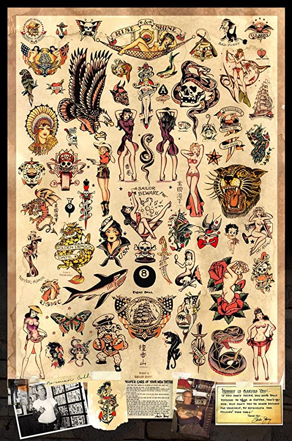 Amazon.com: Sailor Jerry Tattoo Flash (estilo a) Cartel 24 x ...