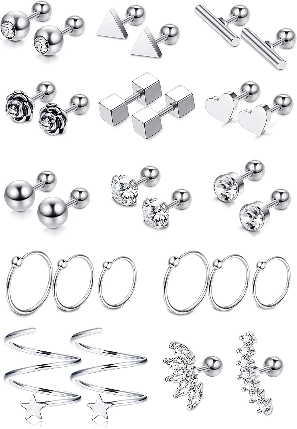 LOYALLOOK 15 Pairs 18G Stainless Steel Flower Heart Star Cartilage Earring CZ Inlaid Barbell Helix Stud Earrings Hoop Tragus Earring Piercing Jewelry