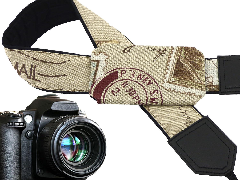 元カメラストラップwithポケット。ポストスタンプカメラストラップ。ポストマーク。ベージュクリームポケットカメラストラップ。カメラアクセサリーby intepro.コード00348 B01N1YUYFP