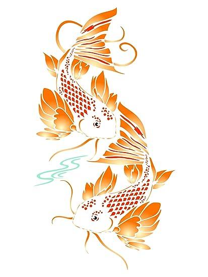 Amazon.com: Koi Fish Stencil - 6.5 x 12 inch (M) - Reusable Asian ...