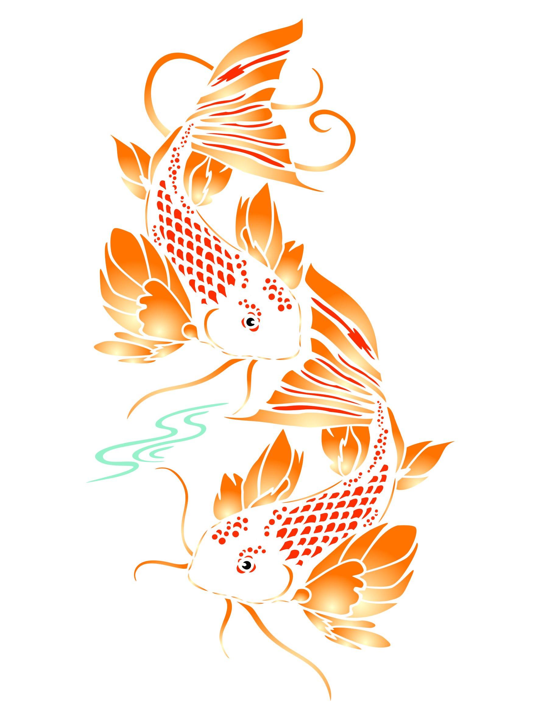Koi Fish Stencil - 10 x 18.5 inch (XL) - Reusable Asian Oriental Carp Fish Animal Pond Wall Stencil Template - Use on Paper Projects Scrapbook Journal Walls Floors Fabric Furniture Glass Wood etc.