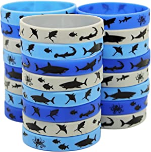 Gypsy Jade's Shark Party Favors - Wristbands for Shark Themed Parties - Pack of 24!