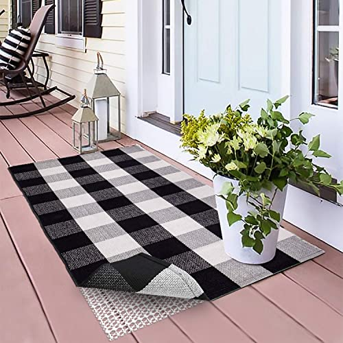100 Cotton Plaid Rugs Black White Checkered Plaid Rug Hand-Woven Buffalo Checkered Doormat Washable Area Rug