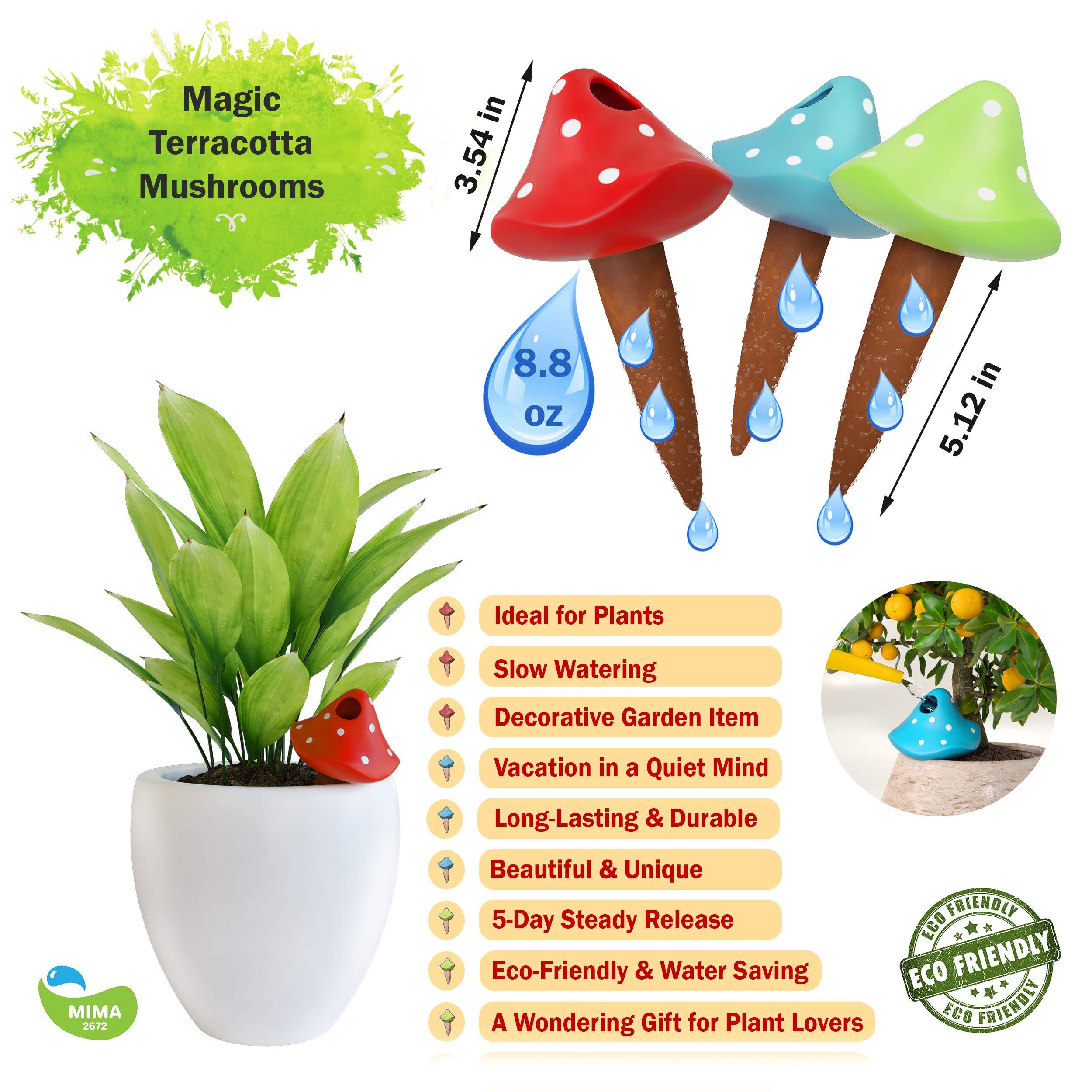 Watering Globes 3 Self Watering System Spikes,Outdoor Garden Soil Moist,Mushroom