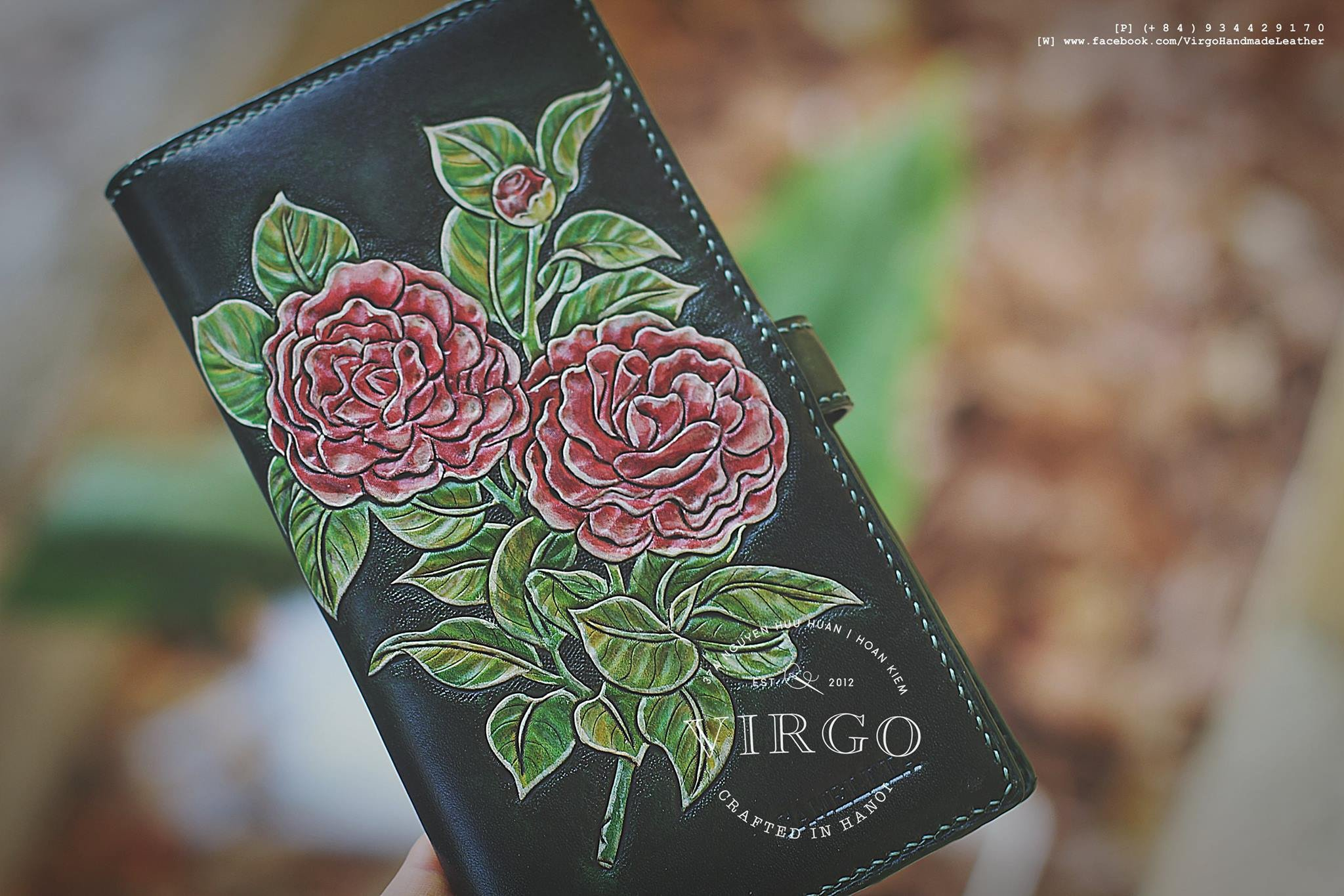 Camellia hand tooled long wallet for women | Personalized Vintage vegetable tanned leather handmade wallet