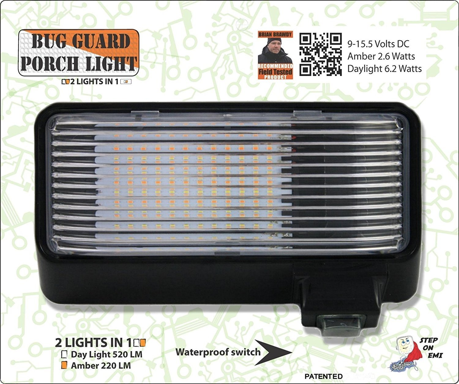 Amber BUG-GUARD BG520B 12 Volt Functional Exterior RV Long-Life LED Flood Porch Light with Bright 220 Lumen 2 Lights in one. White //520 Lunen