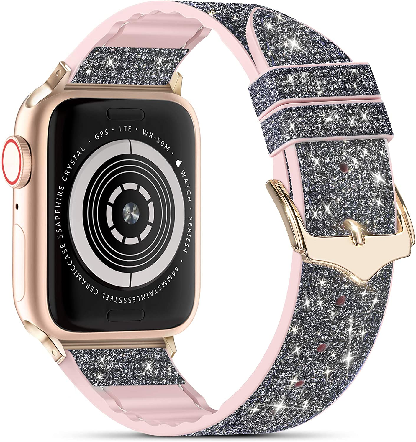 Compatible with Apple Watch Band 38mm 40mm 42mm 44mm, CTYBB Blingbling Sweatproof Genuine Leather and Silicone Band for iWatch SE Series 6 5 4 3 2 1