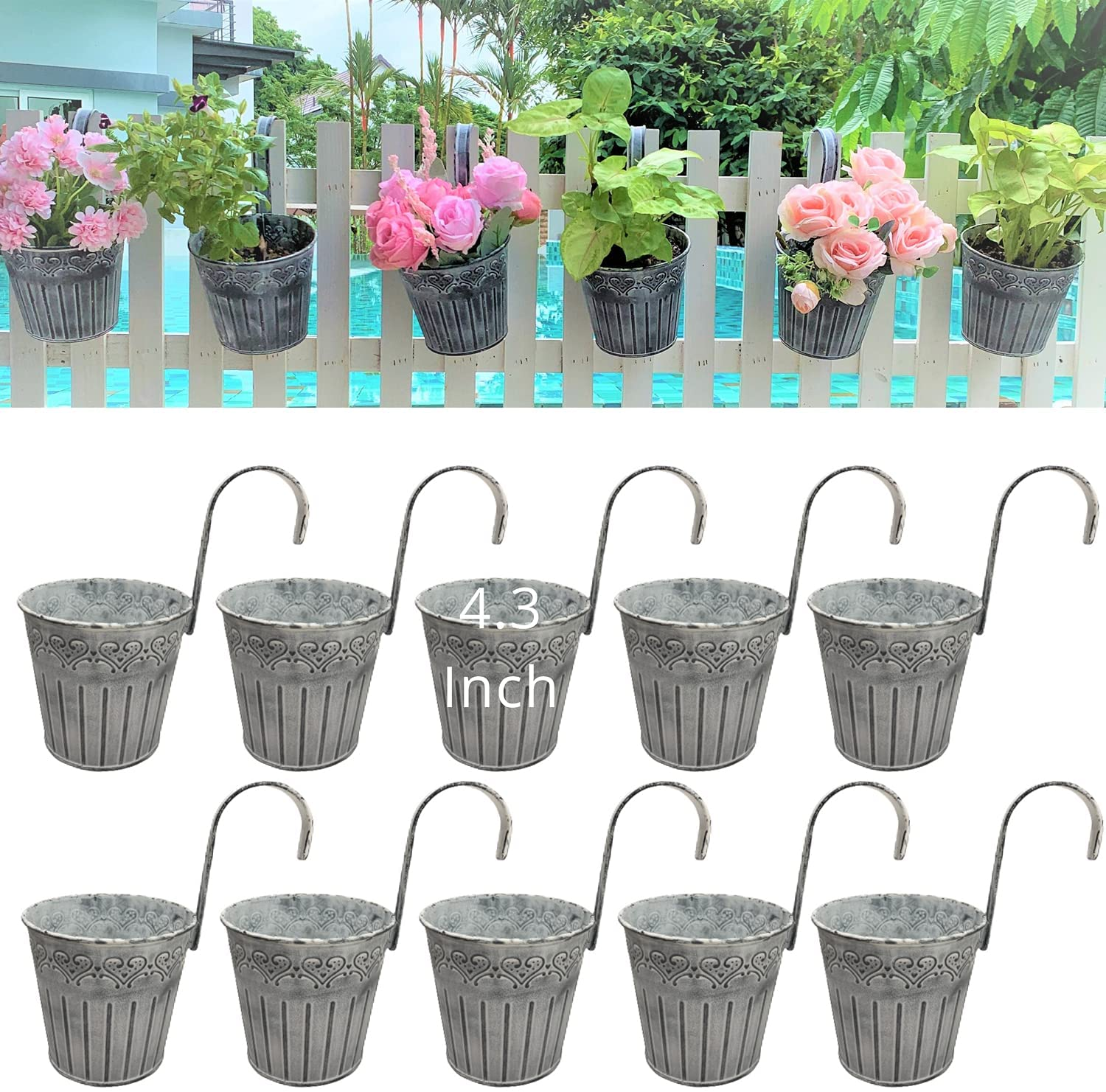Hanging Flower Pots - 10 Pack, 4.3 Inch Balcony Planters Railing Hanging, Small Galvanized Metal Fence Planters for Outdoor Plants Farmhouse Garden Rustic Flower Succulent, Maceteros para Balcon