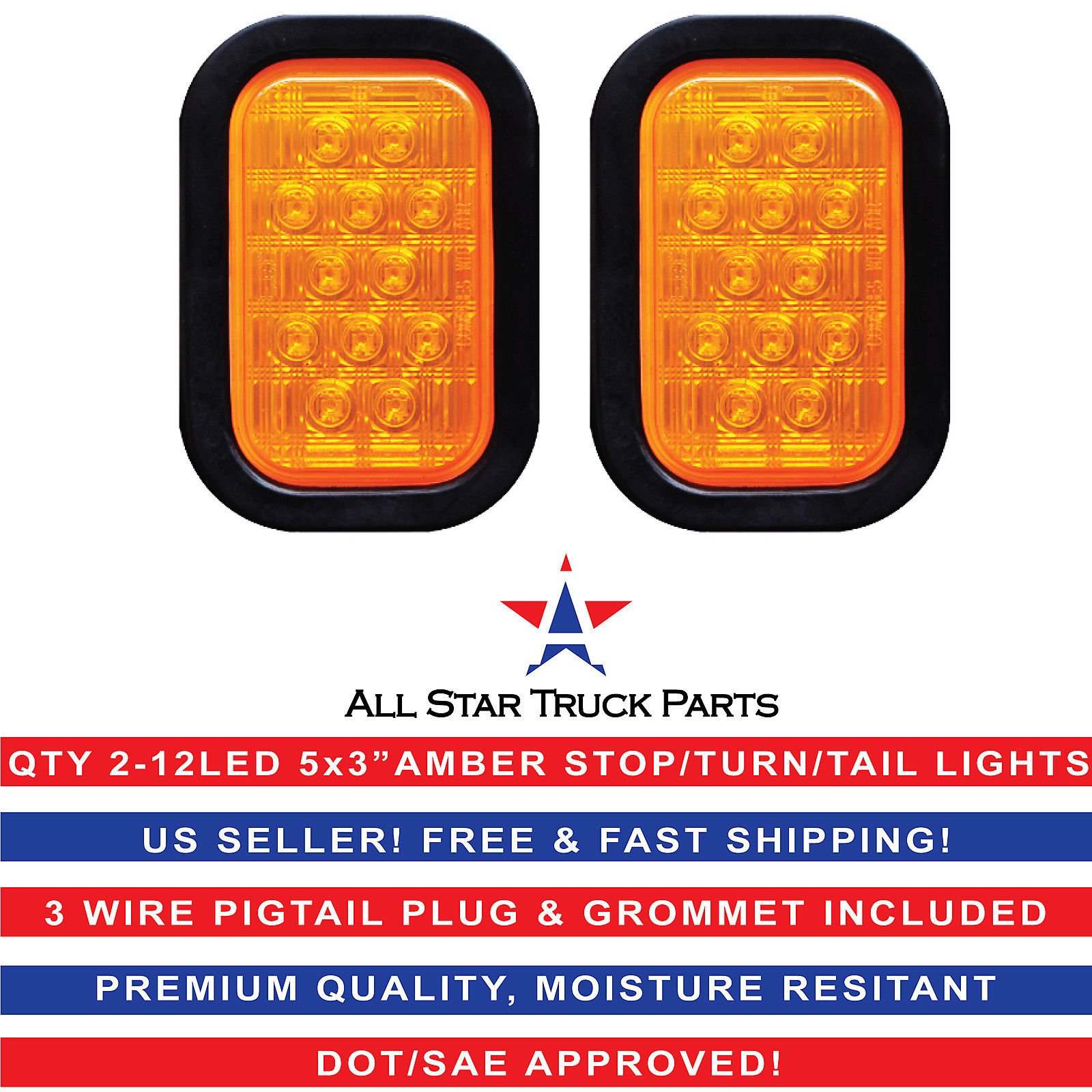 Qty 2-5x3'' Amber Rectangle 12 LED Stop/Turn/Tail Fender Truck Light Grommet & Pigtail