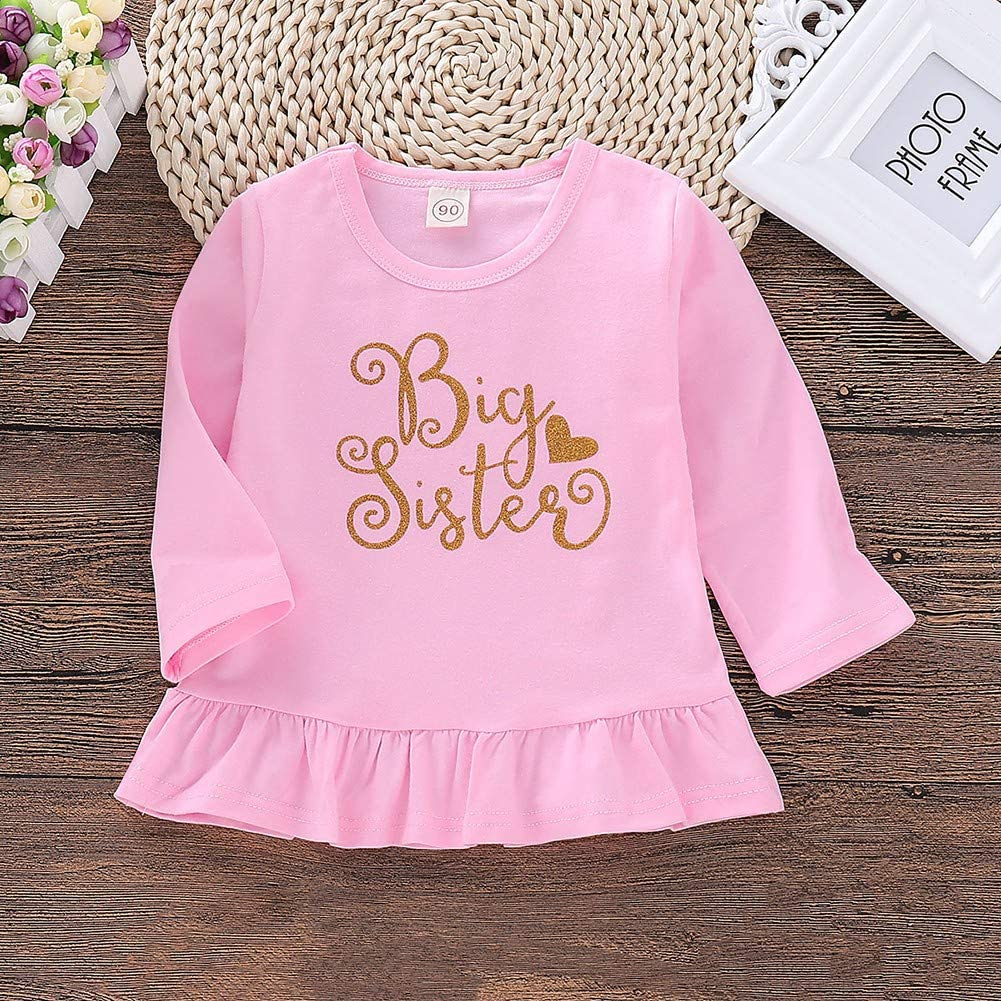 BOBORA Baby Girl Little Sister Big Sister T-Shirt Kids Long Sleeves Cotton Top Shirt Matching Clothing 0-5Years