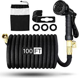 VStoy 100ft Expandable and Flexible Garden Water Hose,Lightweight,No Kink Flexibility,Black Pipe with 8-Patterns Rotating Spray Nozzle, , Heavy Duty 3/4 Inch Solid Brass Connector