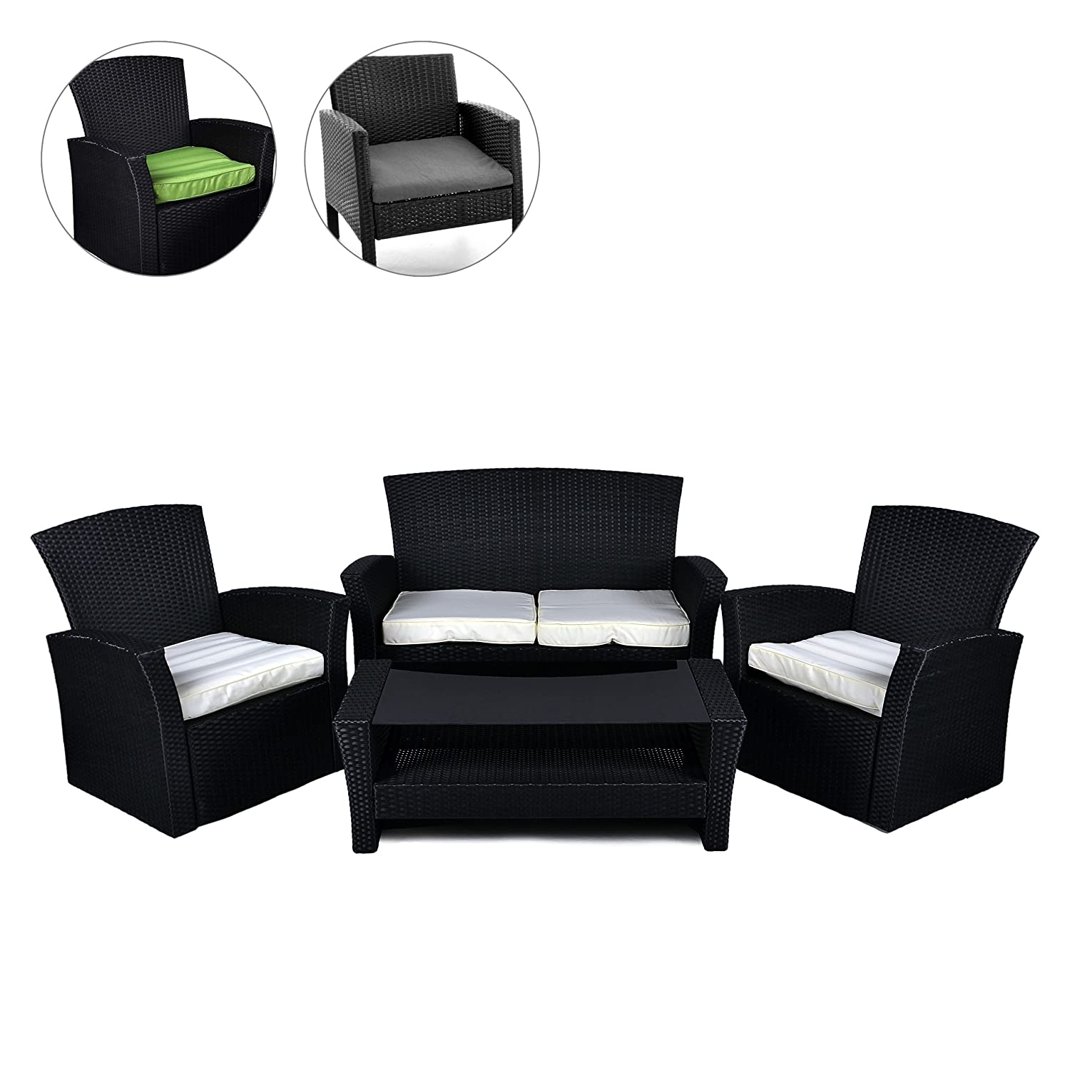 rattan set 4tlg mit glastisch wei garnitur gartenm bel sitzgruppe poly rattan inkl. Black Bedroom Furniture Sets. Home Design Ideas