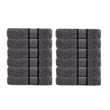Cotton Craft Ultra Soft 12 Pack Wash Cloths 12x12 Charcoal Weighs 2 Ounces Each - 100% Pure Ringspun Cotton - Luxurious Rayon Trim - Ideal for Everyday use - Easy Care Machine wash