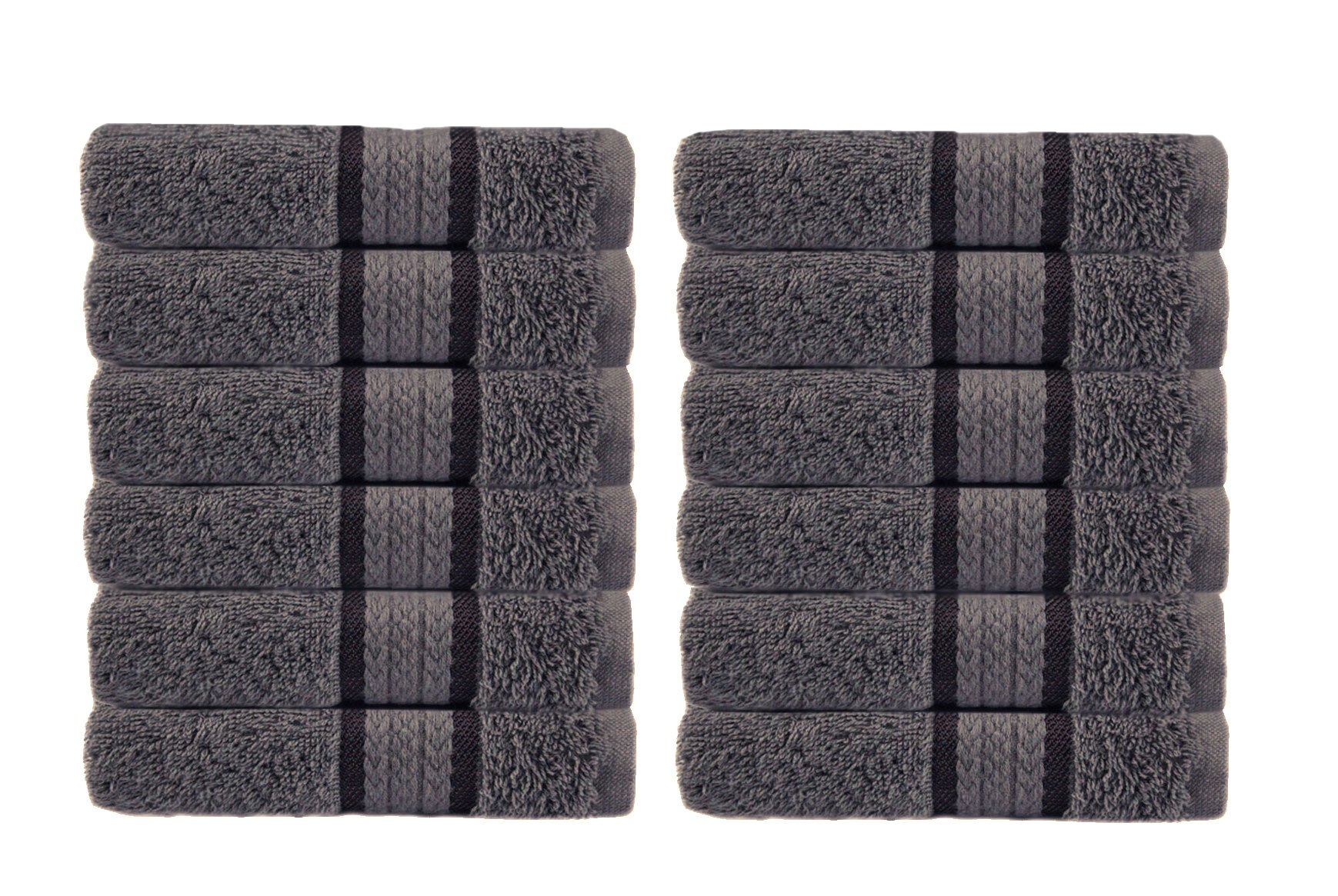 Cotton Craft Ultra Soft 12 Pack Wash Cloths 12x12 Charcoal weighs 2 Ounces each - 100% Pure Ringspun Cotton - Luxurious Rayon trim - Ideal for everyday use - Easy care machine wash by Cotton Craft