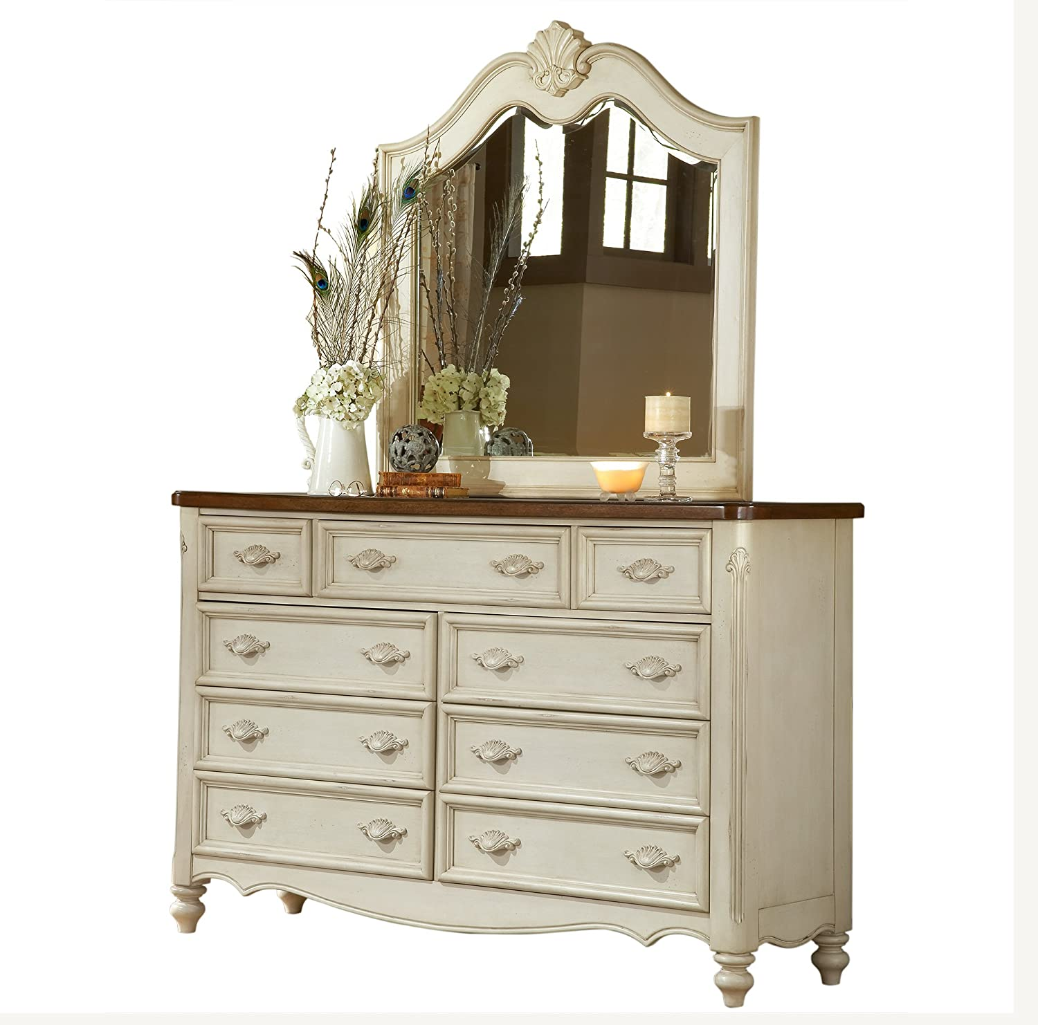 American Woodcrafters Chateau Dresser and Mirror Combo