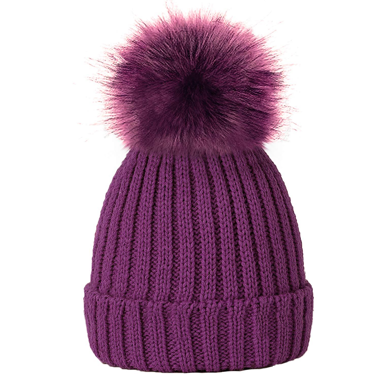 TOSKATOK/® Girls Faux Fur Pom Pom Beanie Hat