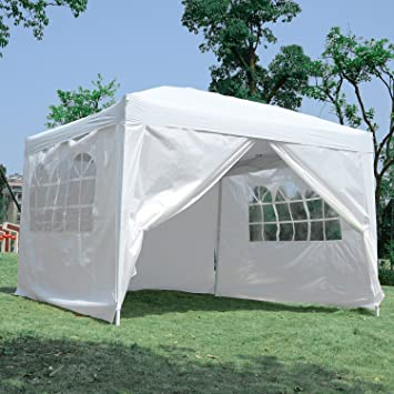 Outsunny10x10FT Pop Up Party Tent Folding Gazebo Wedding Tent Canopy with Side Walls White & Outsunny10x10FT Pop Up Party Tent Folding Gazebo Wedding Tent ...