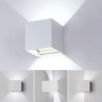 12W LED Apliques De Pared Modernos,Lamparas de Pared impermeable PI65 con Luz Blanco Frío