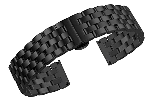 c98cc49daef97 Image Unavailable. Image not available for. Color: 18mm Jubilee Style Luxury  All Matte Black Watch Bands Straps 316L Stainless Steel Metal Adjustable  Size