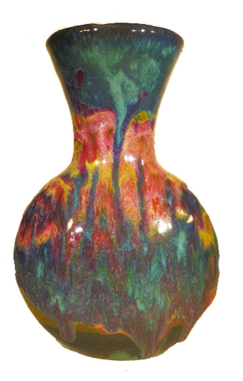Small David Changar Moon Vase #1 Sm Vase Green Yellow Flambe