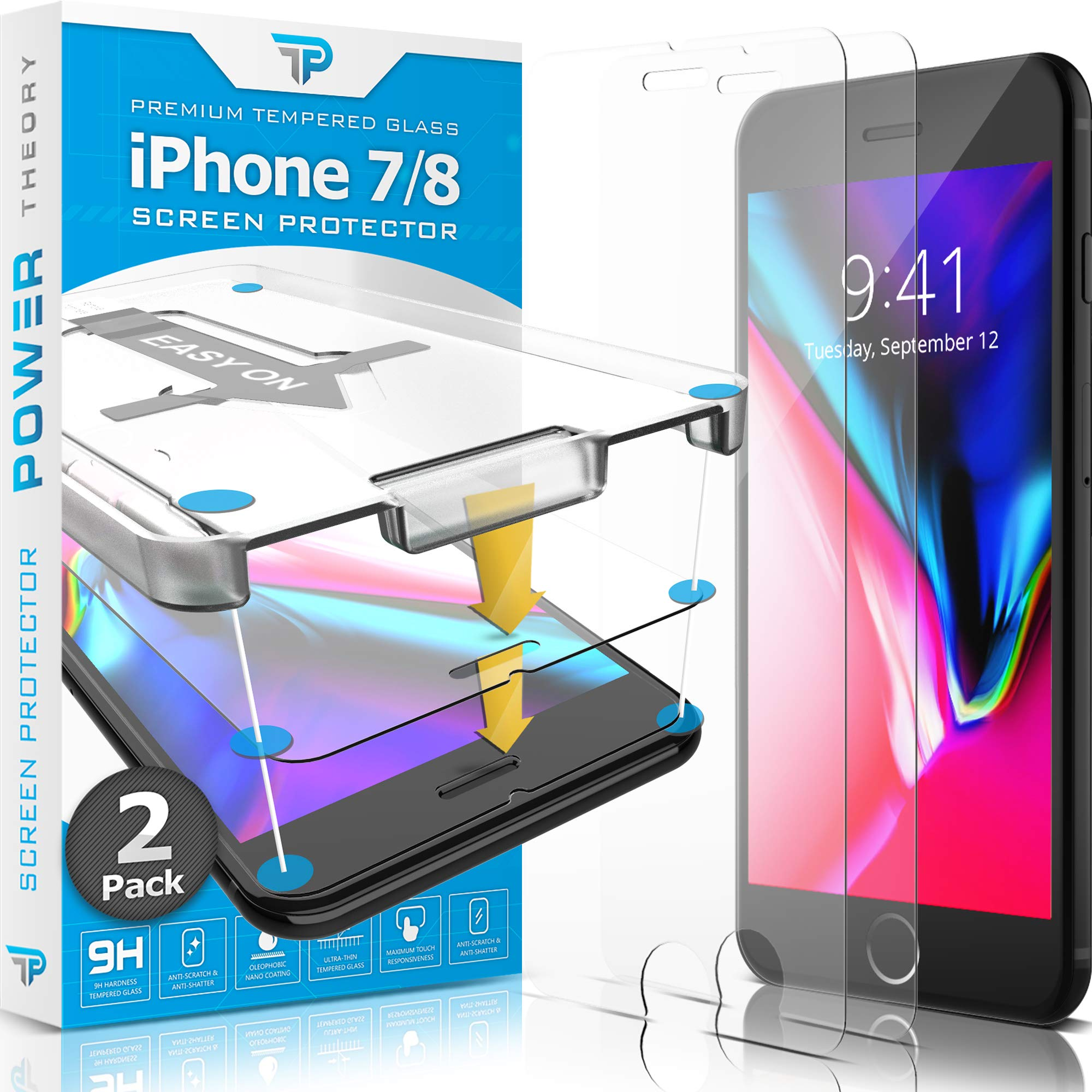 Power Theory iPhone 8 / iPhone 7 Glass Screen Protector [2-Pack] with Easy Install Kit [Premium Tempered Glass] by Power Theory
