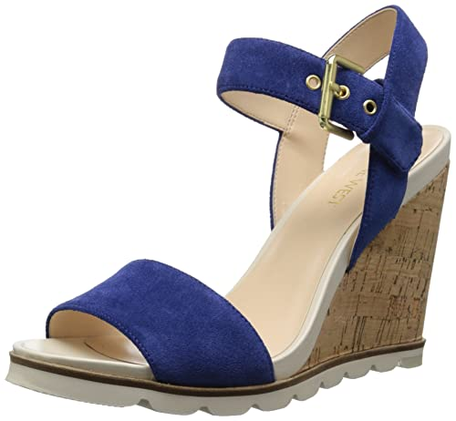 72811017a Amazon.com | Nine West Women's GRONIGEN Suede Wedge Sandal Navy 10 M ...