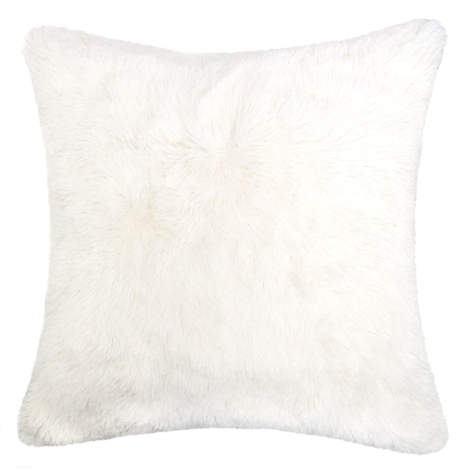 Homey Cozy Faux Fur Throw Pillow Cover,Ivory Double Side Luxury Fluffy  Super Soft Plush Fur Decorative Couch Cushion Pillow Case 20 X 20 Inch,  Cover Only