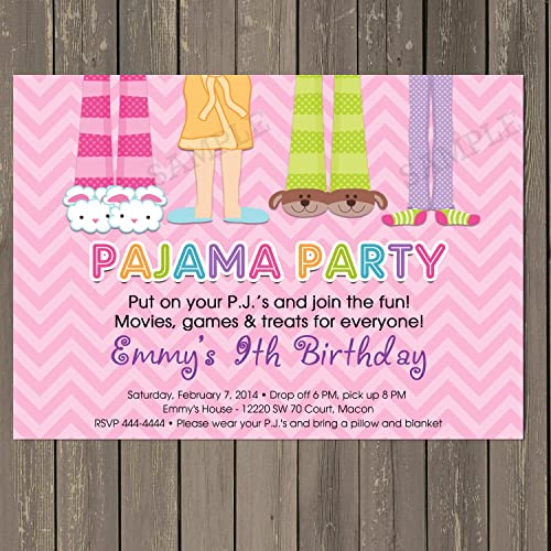 amazon com pajama party sleepover birthday party invitation in pink