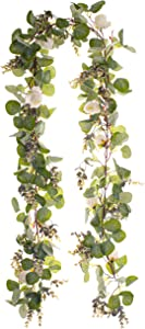 Eucalyptus Garland 6.5 feet/Green Leaves with White Flowers/Kitchen Wall Decor/Kitchen Decor/Greenery/Artificial/Fake/Bulk/Wedding/Vine/Faux/Rustic