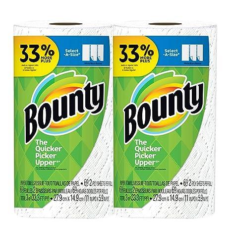 Toalla de papel Bounty Select-A-Size 2 capas 69 hojas rollo grande –