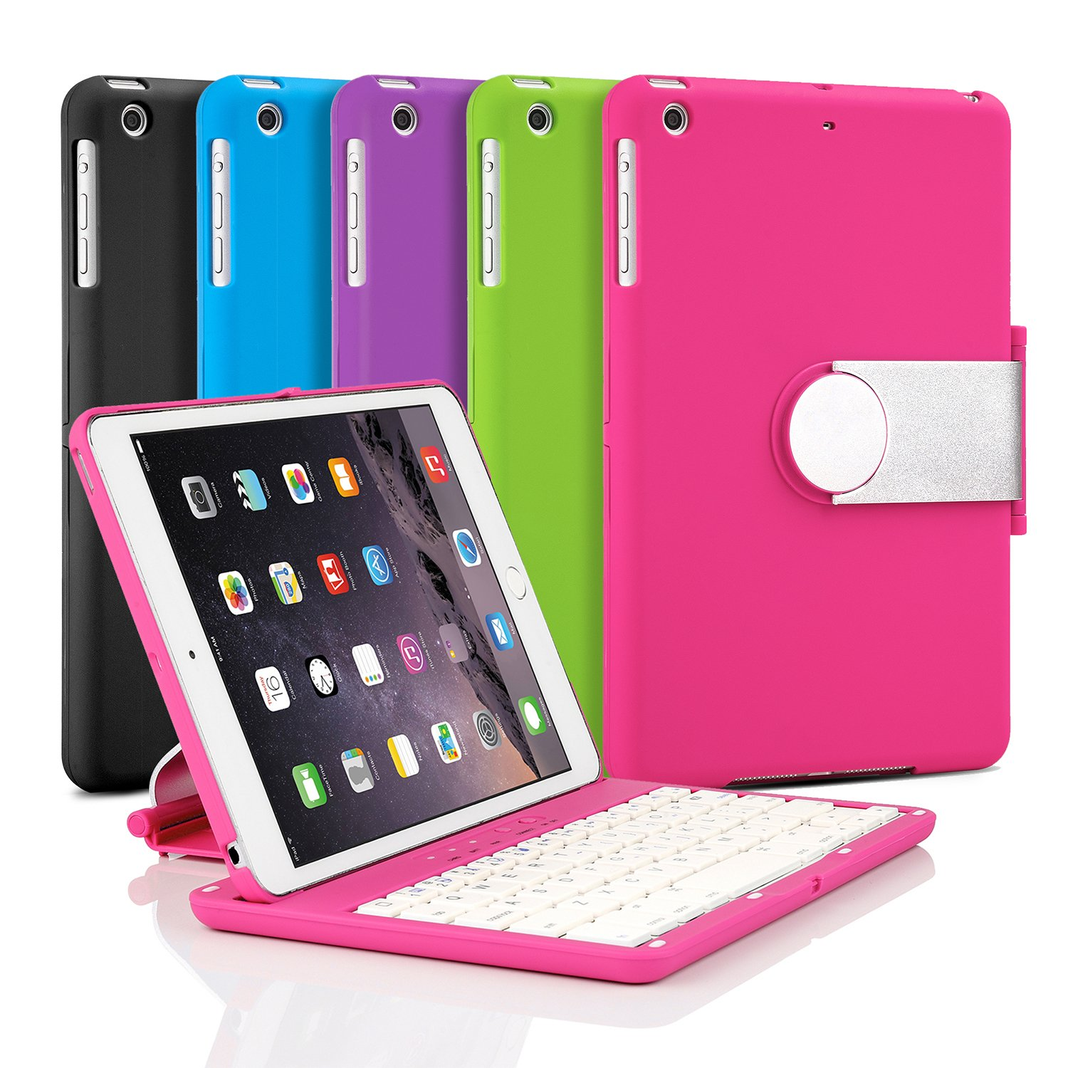 iNNEXT Aluminum 360 Swivel Rotating Stand Case Cover Built-in Bluetooth Keyboard for ipad Mini 1 2 3 with Retina Display (Hot Pink) by iNNEXT (Image #7)
