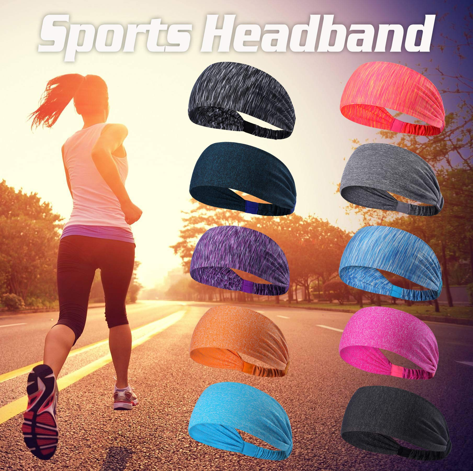 Set of 10 Women's Yoga Sport Athletic Workout Headband For Running Sports Travel Fitness Elastic Wicking Non Slip Lightweight Multi Style Bandana Headbands Headscarf fits all Men & Women (10 Colors) by DASUTA (Image #2)