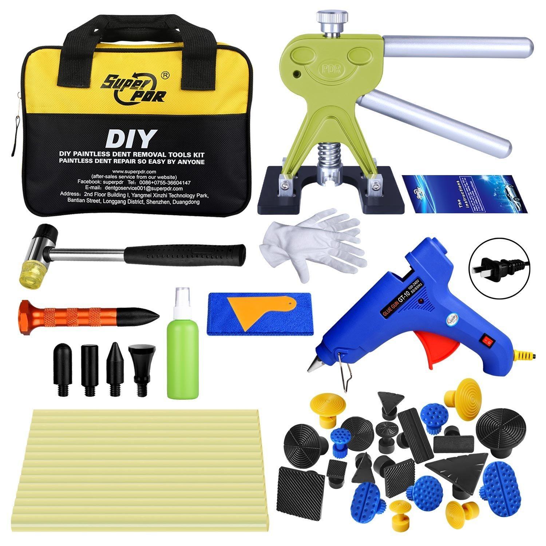 Fly5D 45Pcs DIY Car Paintless Dent Glue Puller Removal Tool Kits for Car Door Ding Repair Power Hand Tools