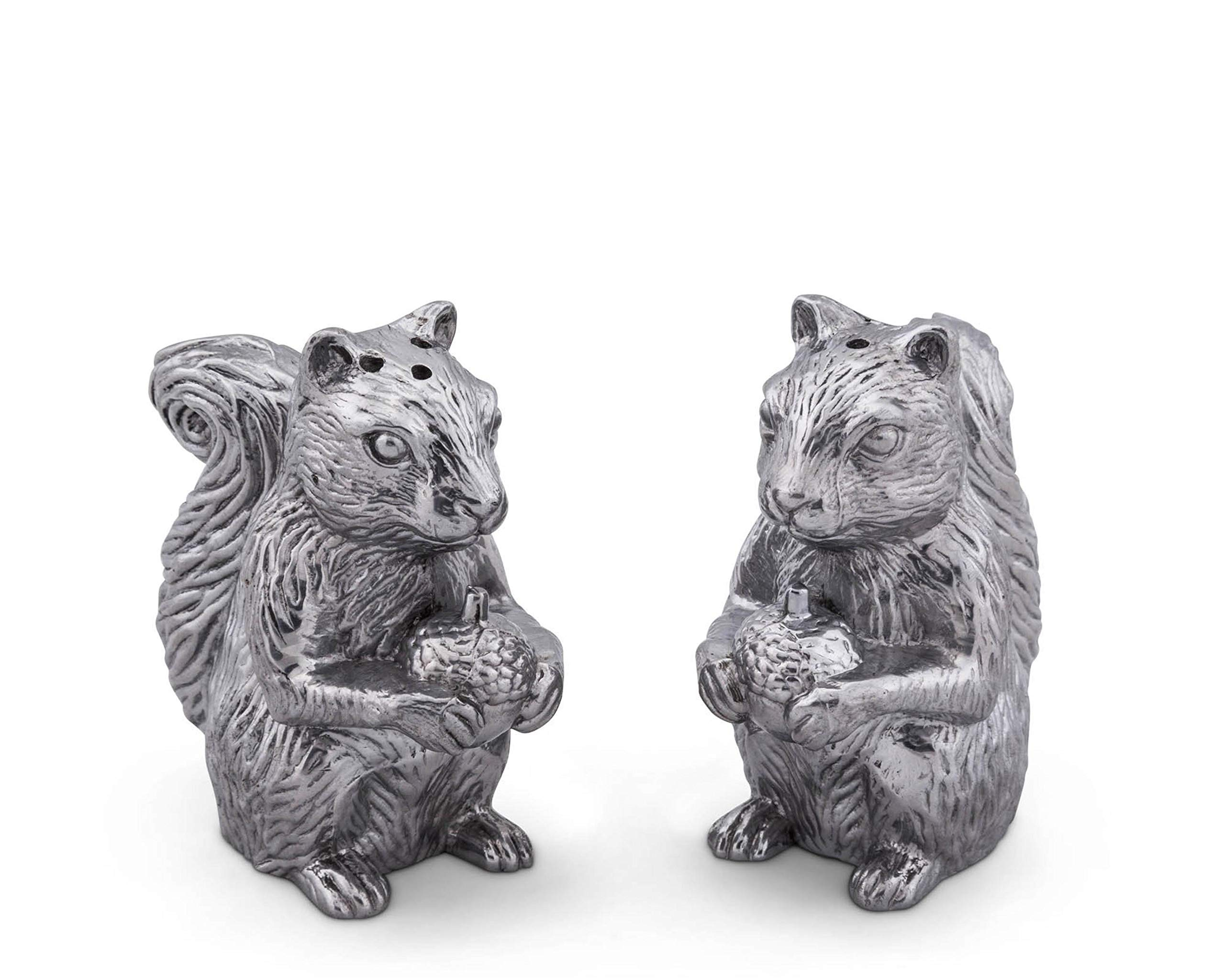 Arthur Court Aluminum Squirrels Salt & Pepper Set 4'' tall by Arthur Court