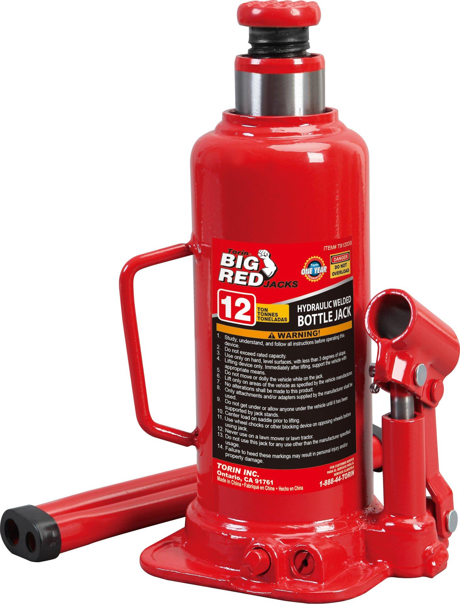 Torin Big Red Hydraulic Bottle Jack, 12 Ton Capacity