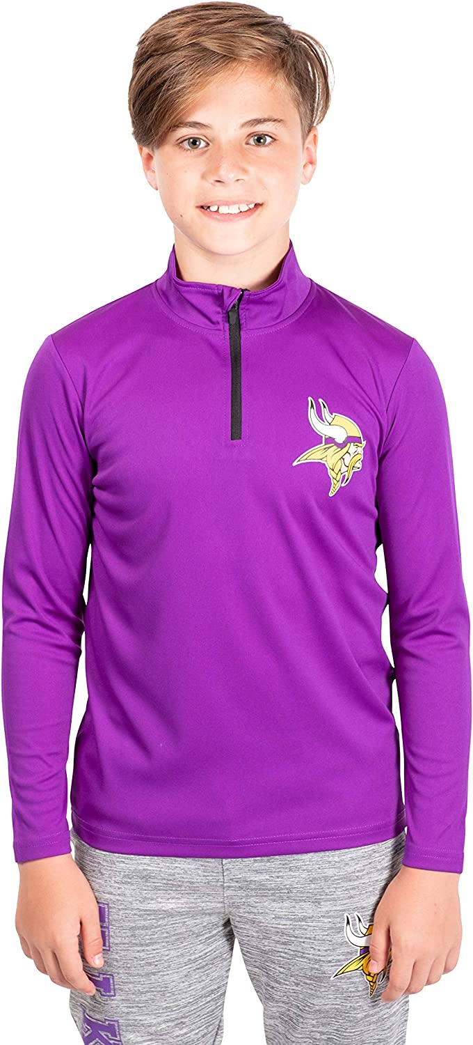 Ultra Game NFL Minnesota Vikings Boys Quarter Zip Pullover Athletic Quick Dry Long Sleeve Tee Shirt Purple 10-12