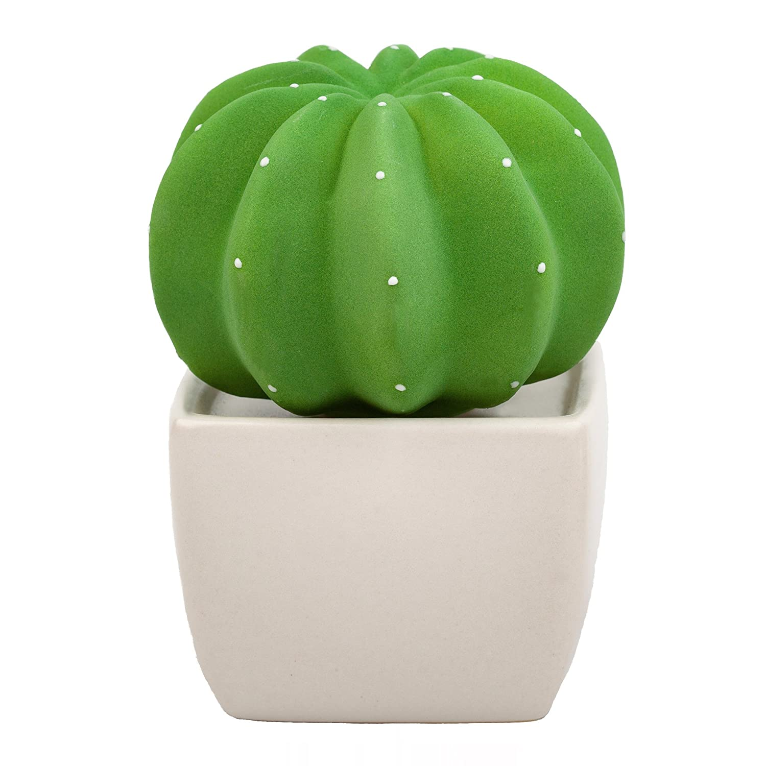 Lively Breeze Dotti Cactus, Non-Electric Ceramic Diffusers for Essential Oils and Aromatherapy Fragrance, White Ceramic Diffusers in Car or Desk Office Decor and Small Bathroom at Home, White Vase