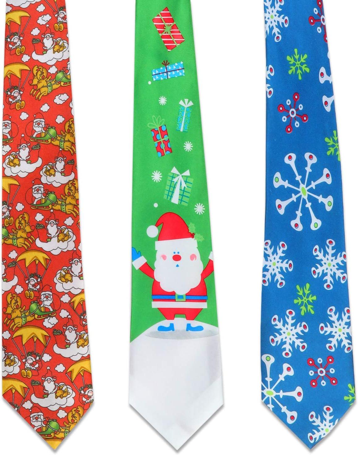 Cravates De Nouveaut/é Cravate Flocon De Neige P/ère No/ël Cravate pour No/ël Hommes Cadeau HOWAF 3pcs Cravate De No/ël pour Hommes Adultes Une Taille