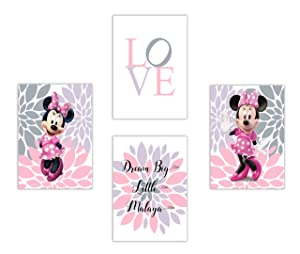 Minnie Mouse Love and flowers with Personalized name - Set of 4 Prints (Unframed)