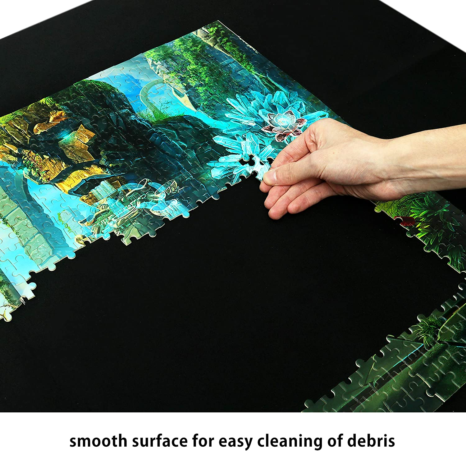 Lavievert 2mm Thick Neoprene Double-Sided Black /& Khaki Jigsaw Puzzle Roll Mat Puzzle Storage Saver with Nonwoven Storage Bag /& Plastic Cylinder for up to 1500 pcs